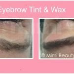 Eyebrow tint and wax before and after